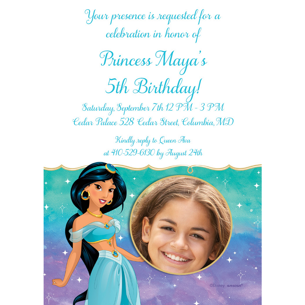 Custom Aladdin Jasmine Once Upon a Time Photo Invitations Image #1