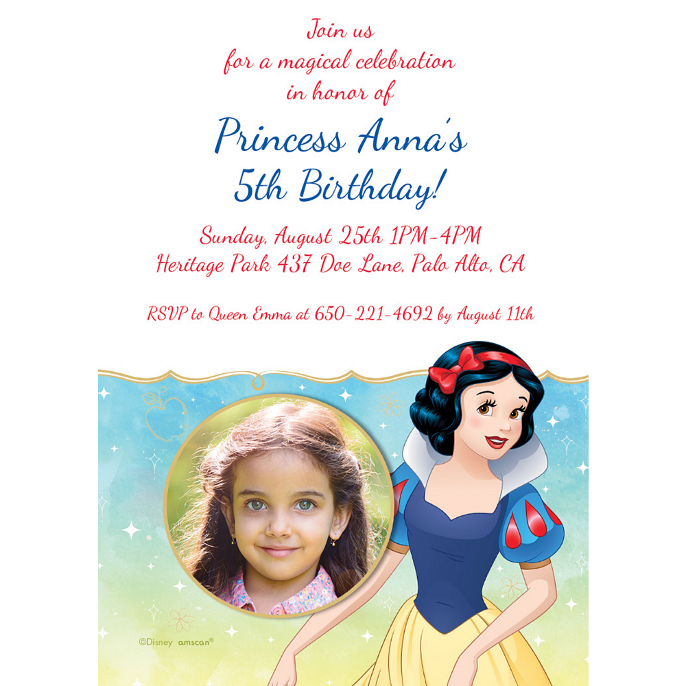 Custom Snow White Once Upon a Time Photo Invitations Image #1