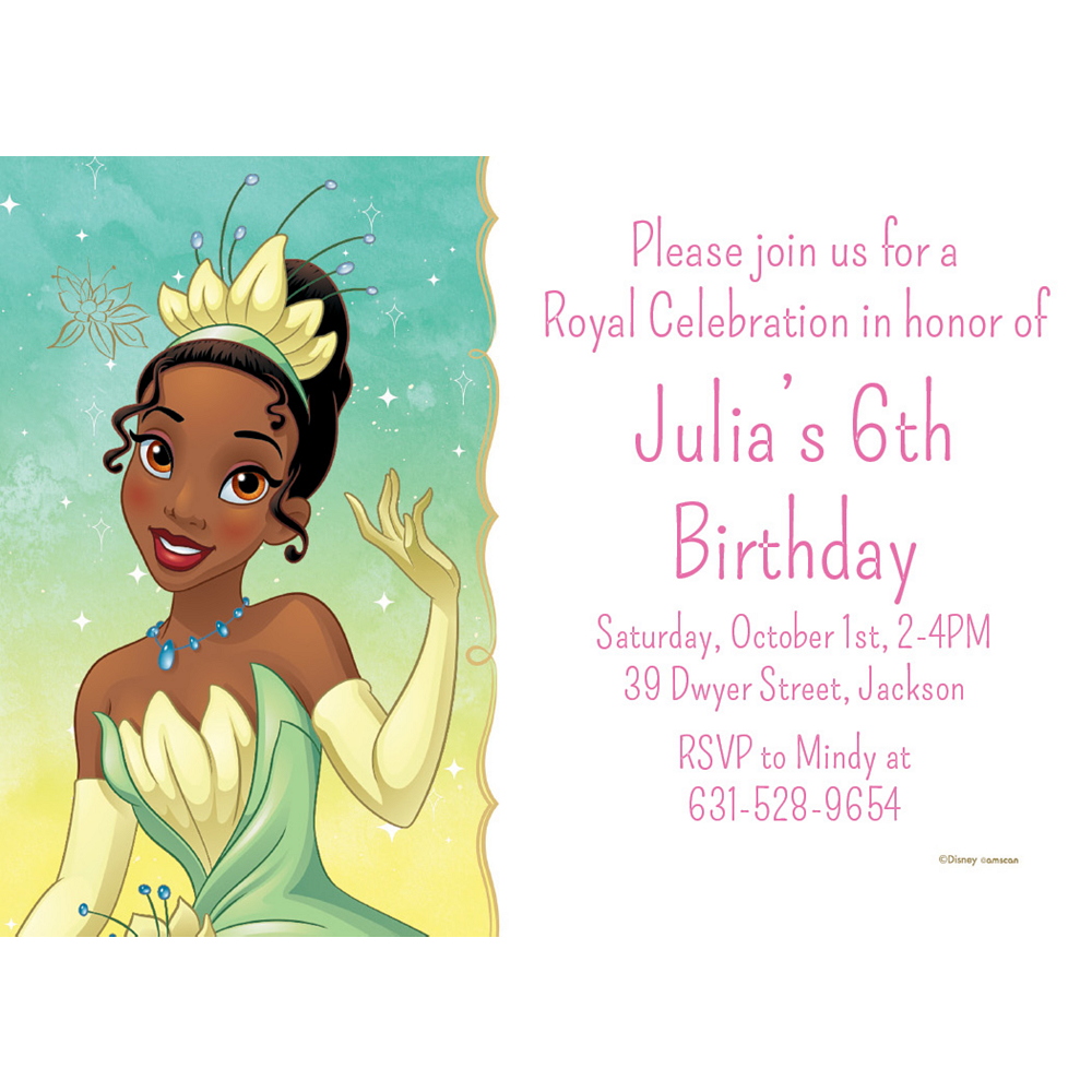 Custom The Princess and the Frog Tiana Invitations Image #1