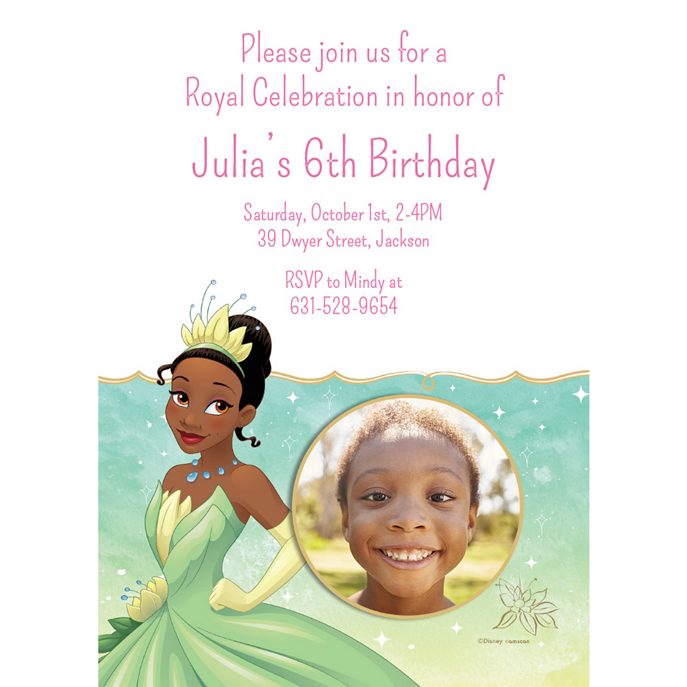 Custom The Princess and the Frog Tiana Photo Invitations Image #1