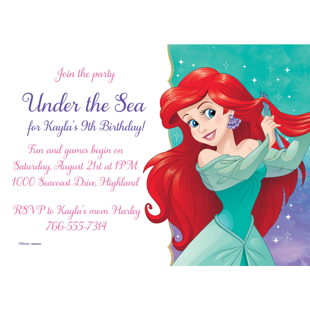 personalised paper card party invites invitations DISNEY LITTLE MERMAID ARIEL #1
