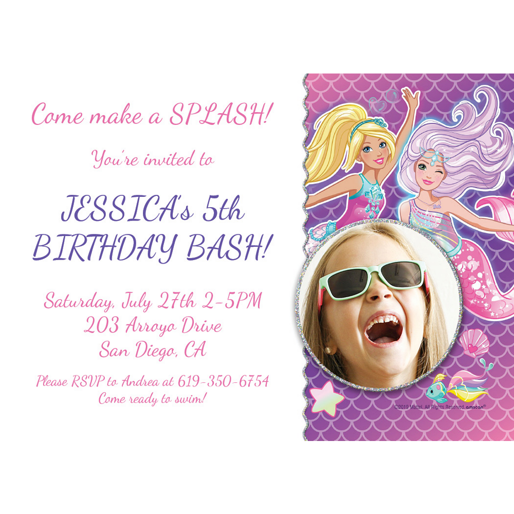 Custom Barbie Mermaid Photo Invitations Image #1