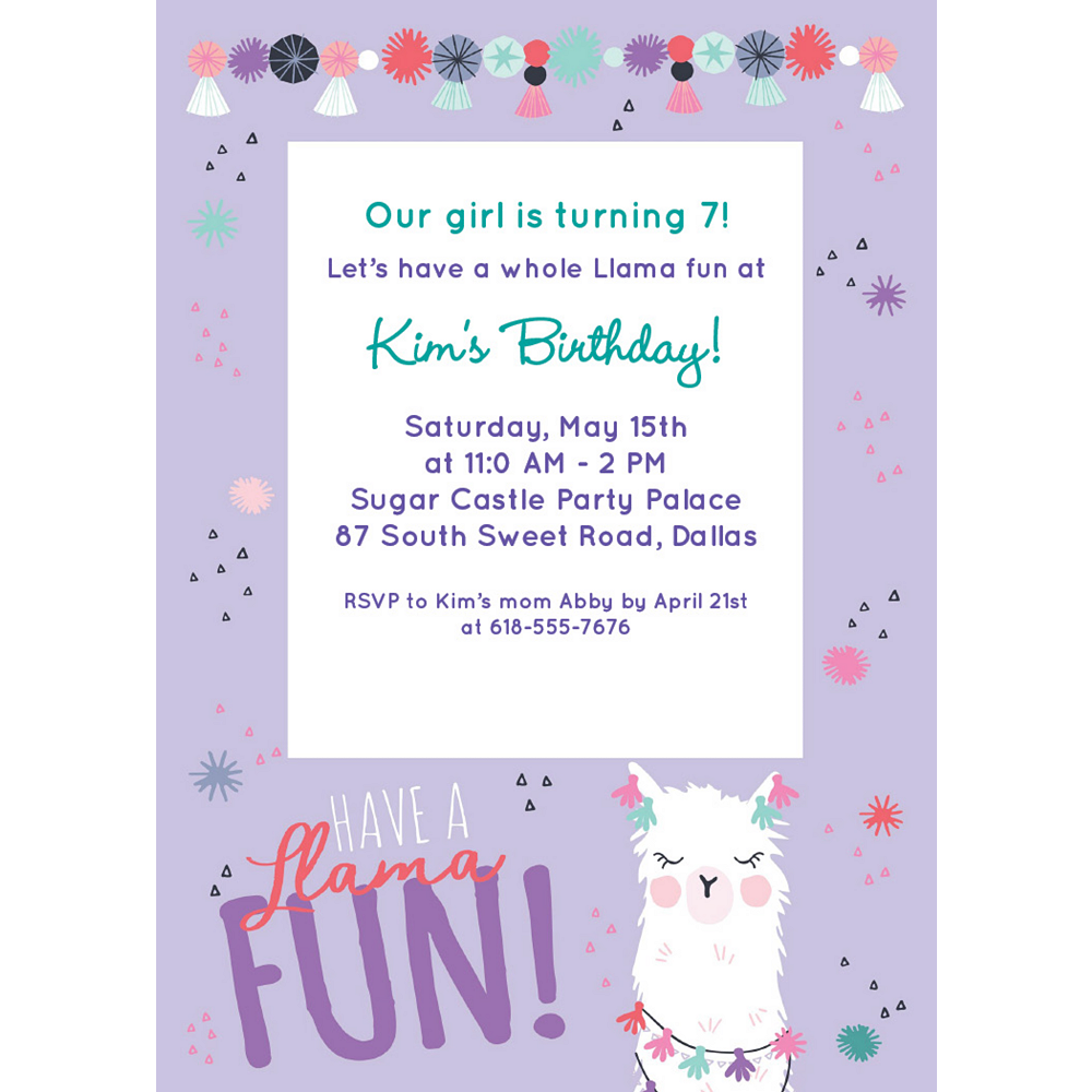 Custom Llama Fun Birthday Invitations Image #1