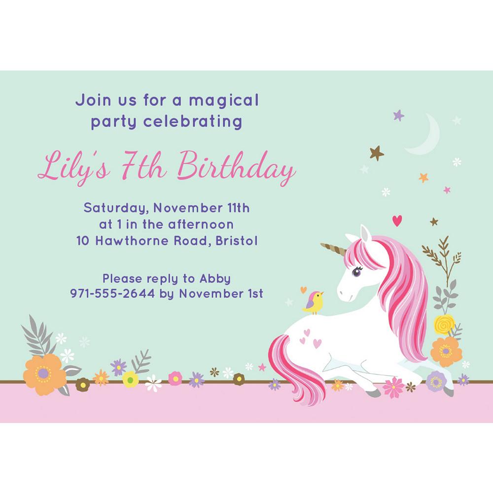 Custom Magical Unicorn Invitations