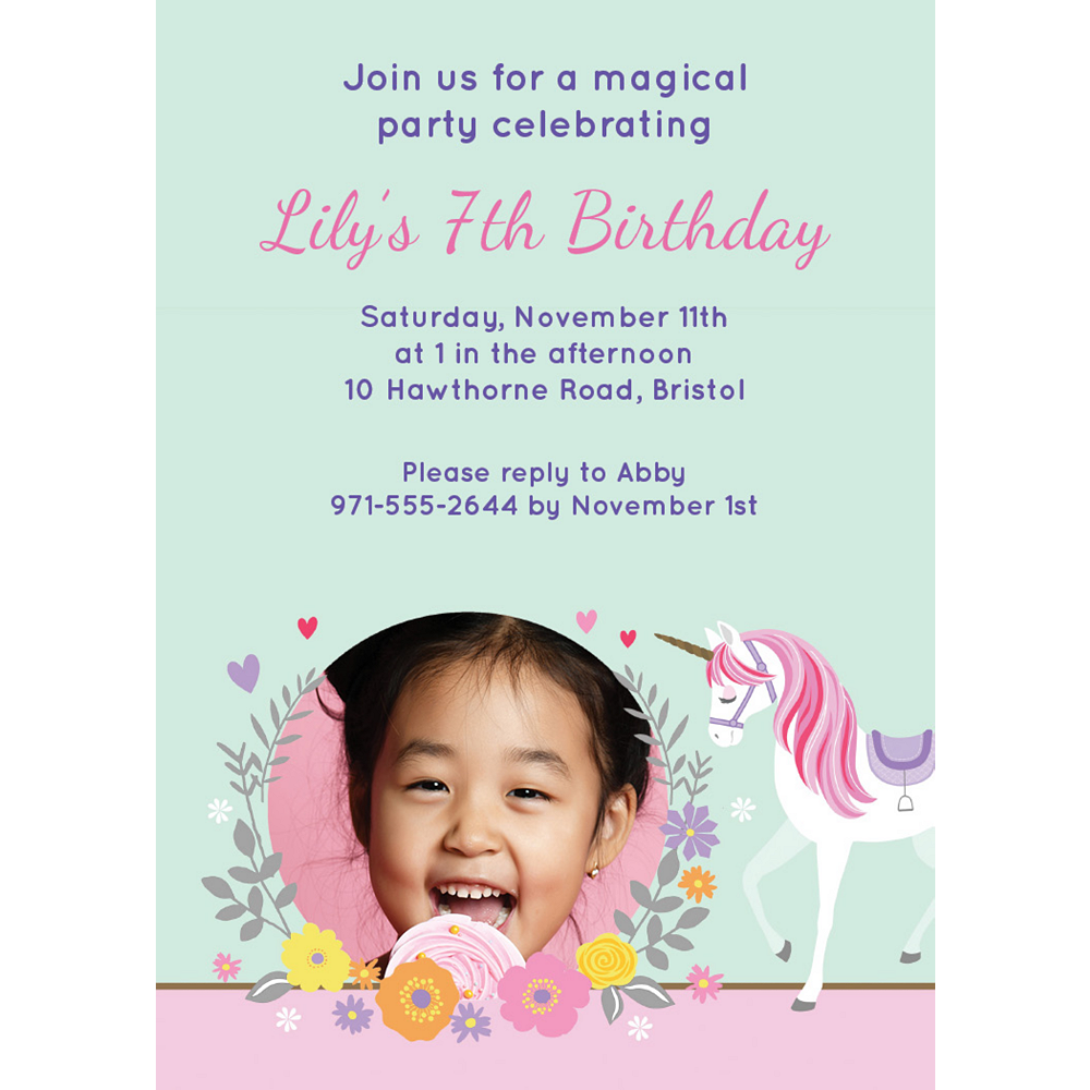 Custom Magical Unicorn Photo Invitations Image #1