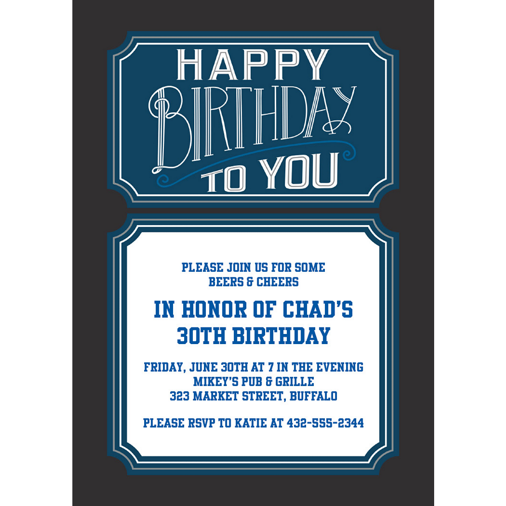 Custom Happy Birthday Man Invitations Party City