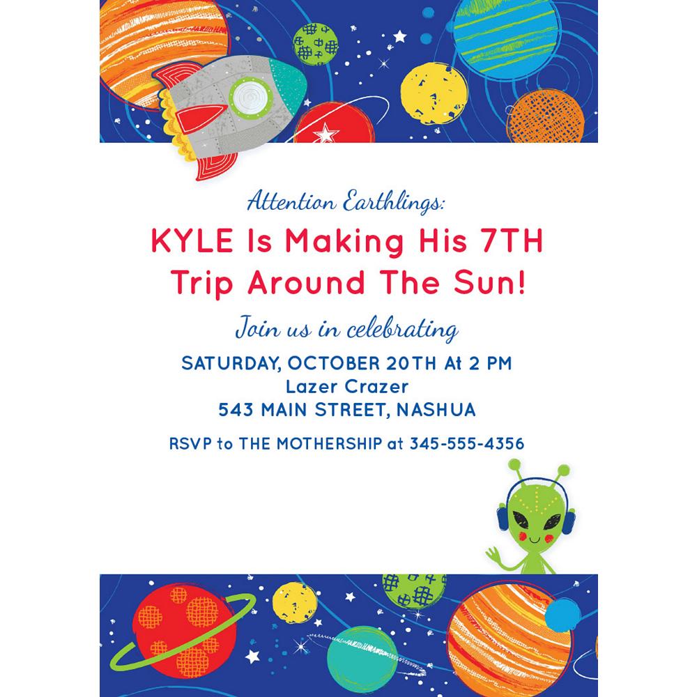 Custom Blast Off Birthday Invitations Image #1