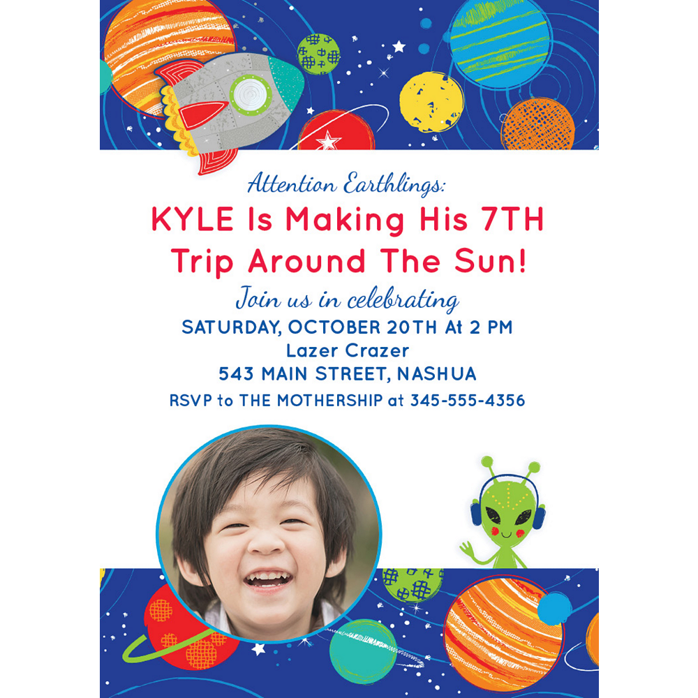 Nav Item for Custom Blast Off Birthday Photo Invitations Image #1