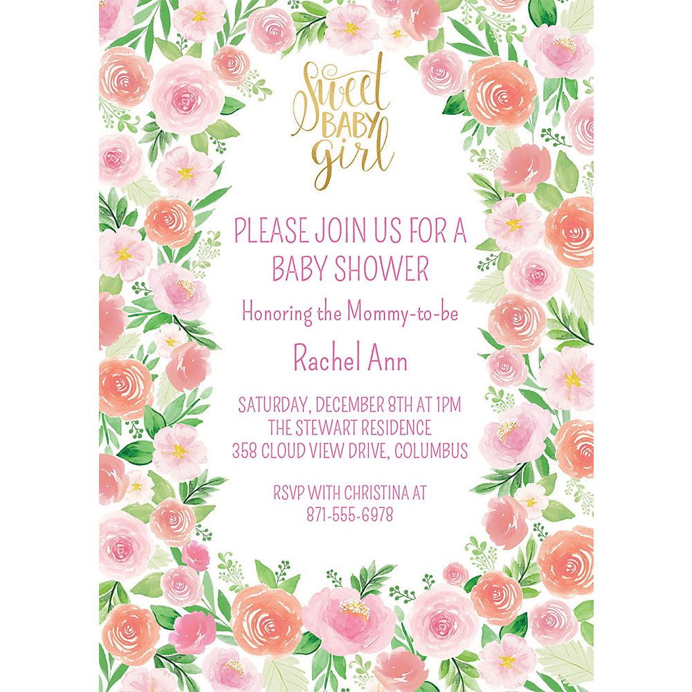 Custom Floral Baby Invitations Image #1