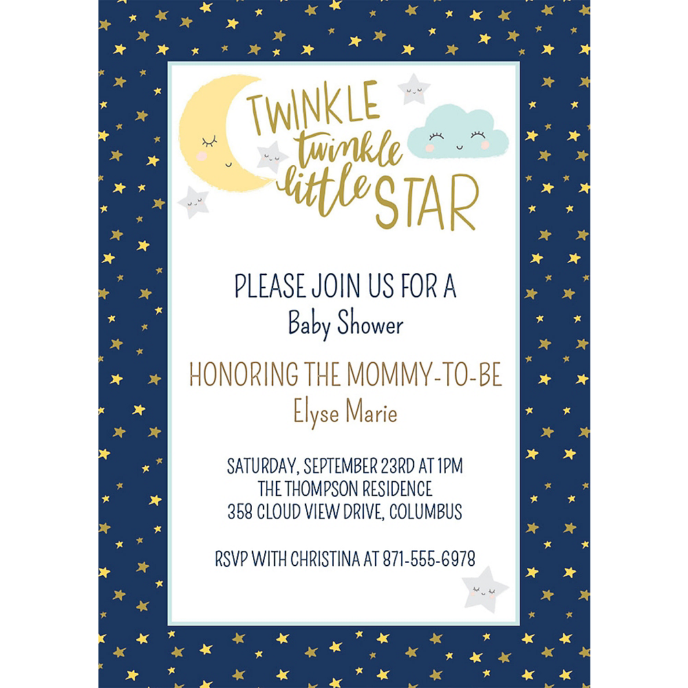 Custom Twinkle Twinkle Little Star Invitations Image #1