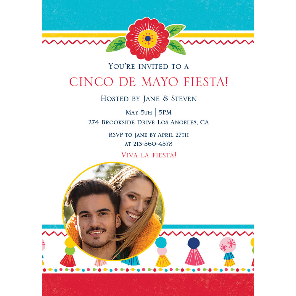 Custom Fiesta Time Photo Invitations Image #1