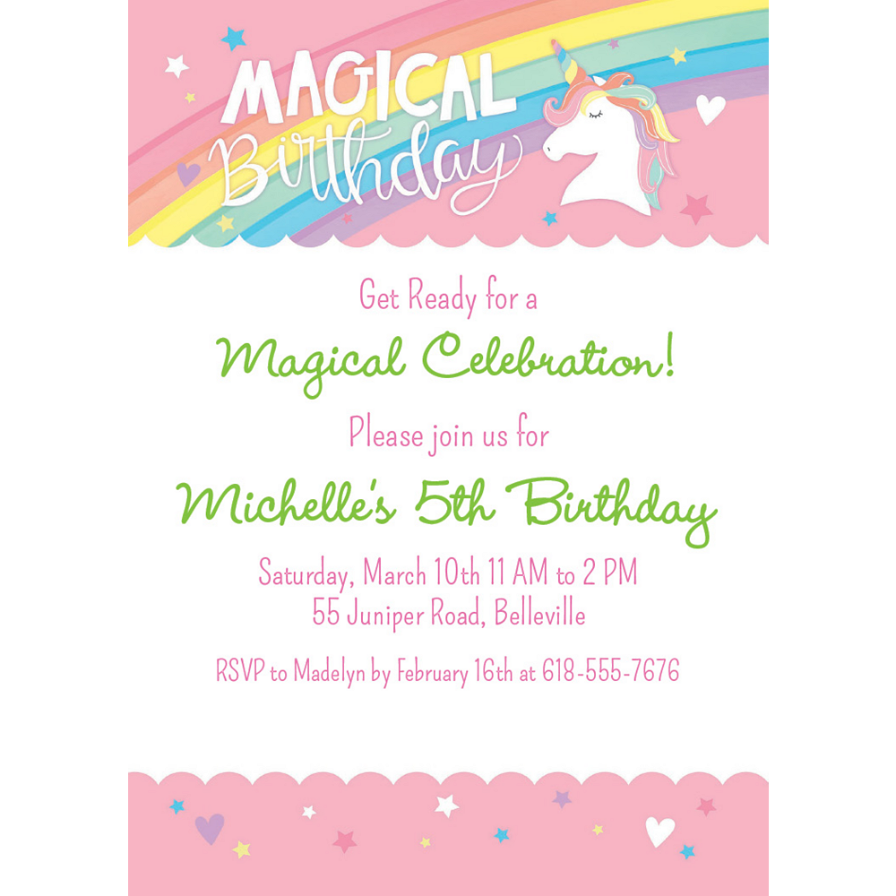 Nav Item for Custom Magical Rainbow Birthday Invitations Image #1