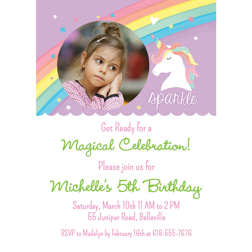 Custom Magical Rainbow Birthday Photo Invitations Image #1