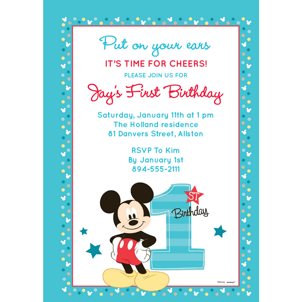 Custom Mickey's 1st Birthday Invitations Image #1