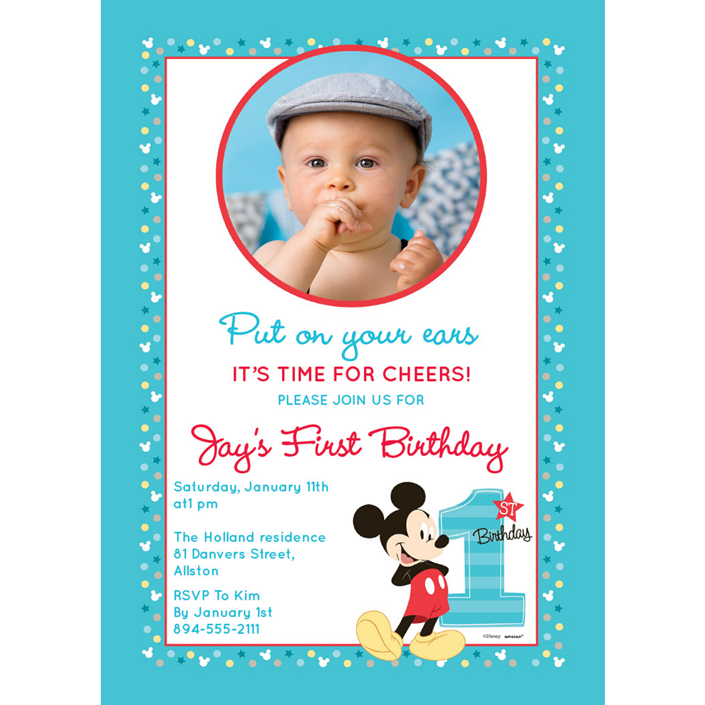 Custom Mickey's 1st Birthday Photo Invitations Image #1
