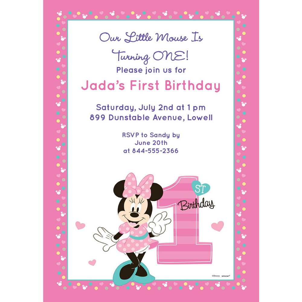 Custom Minnie's 1st Birthday Invitations Image #1