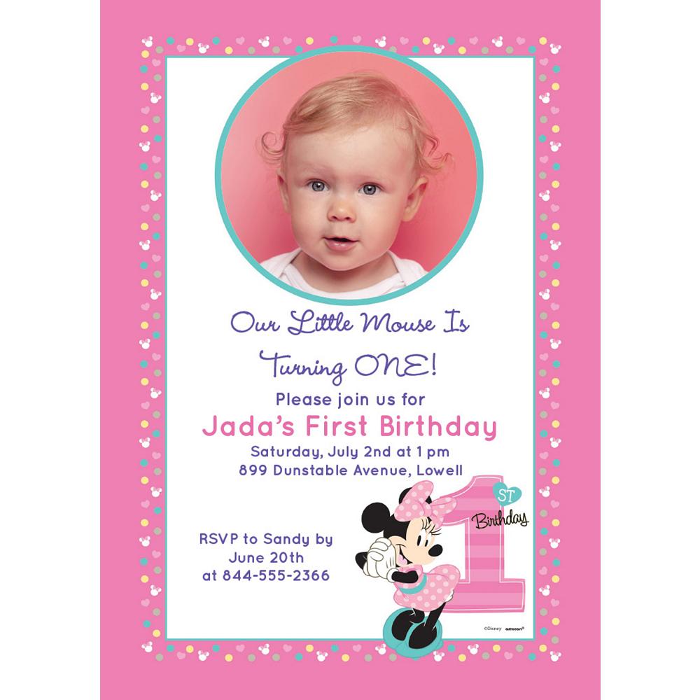 Custom Minnie's 1st Birthday Photo Invitations Image #1