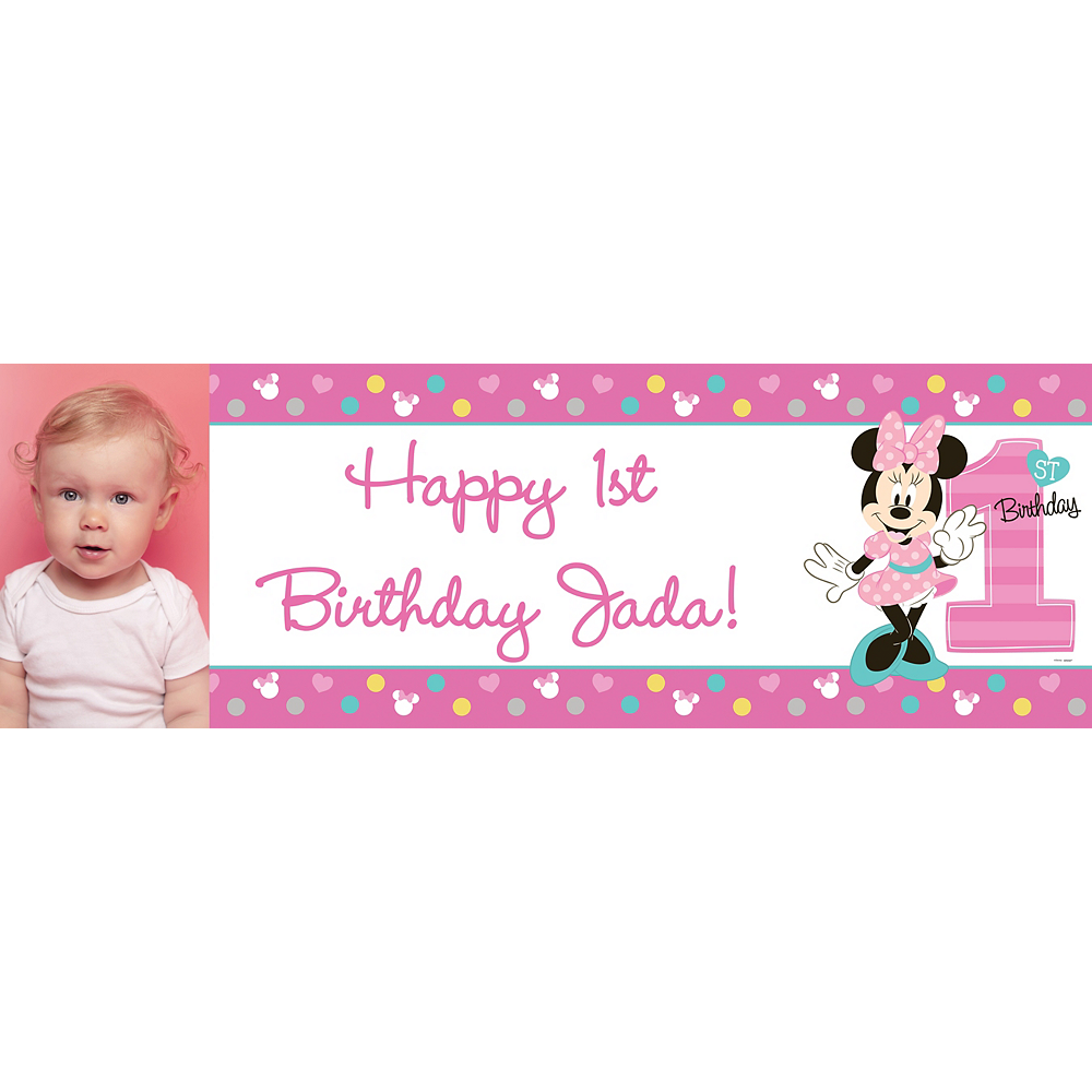 Custom Minnie's 1st Birthday Photo Horizontal Banner Image #1