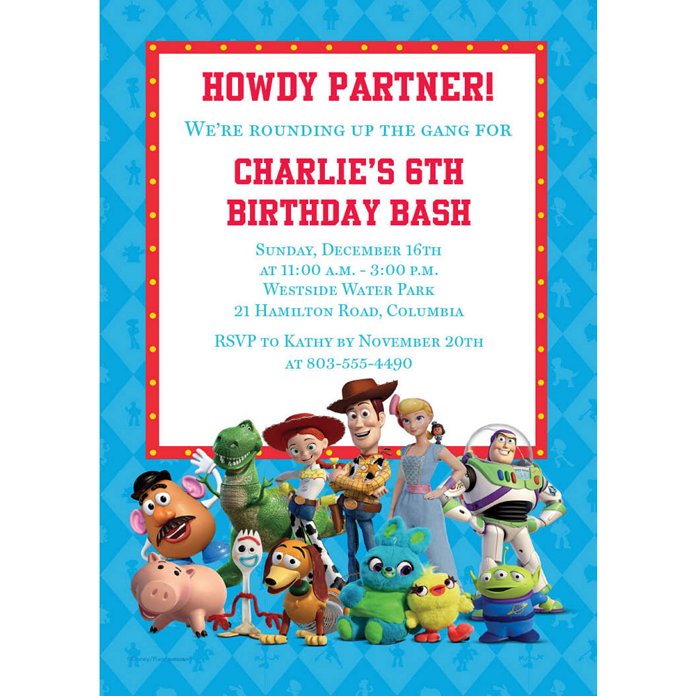 Custom Toy Story 4 Invitations Image #1