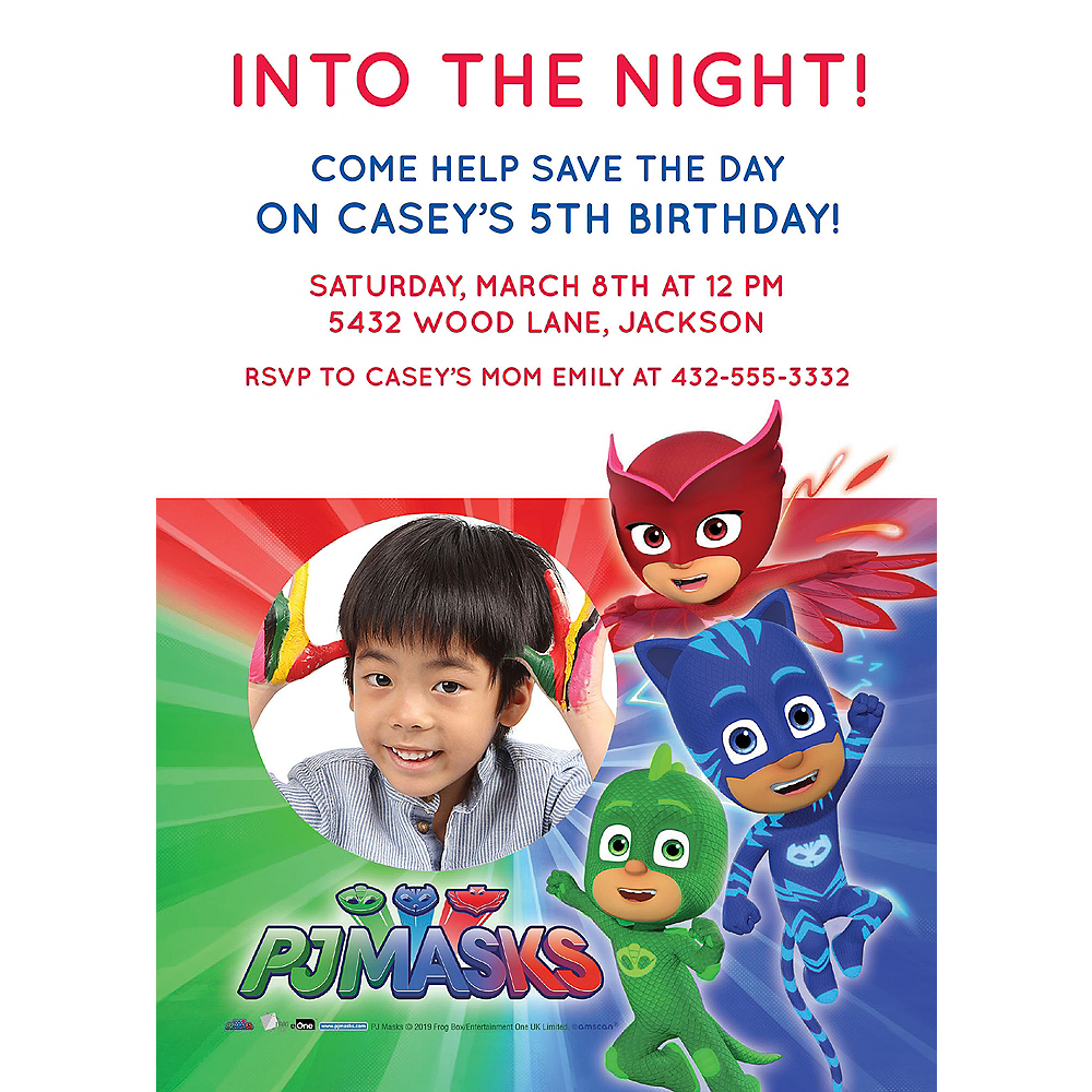 Custom PJ Masks Photo Invitations Image #1