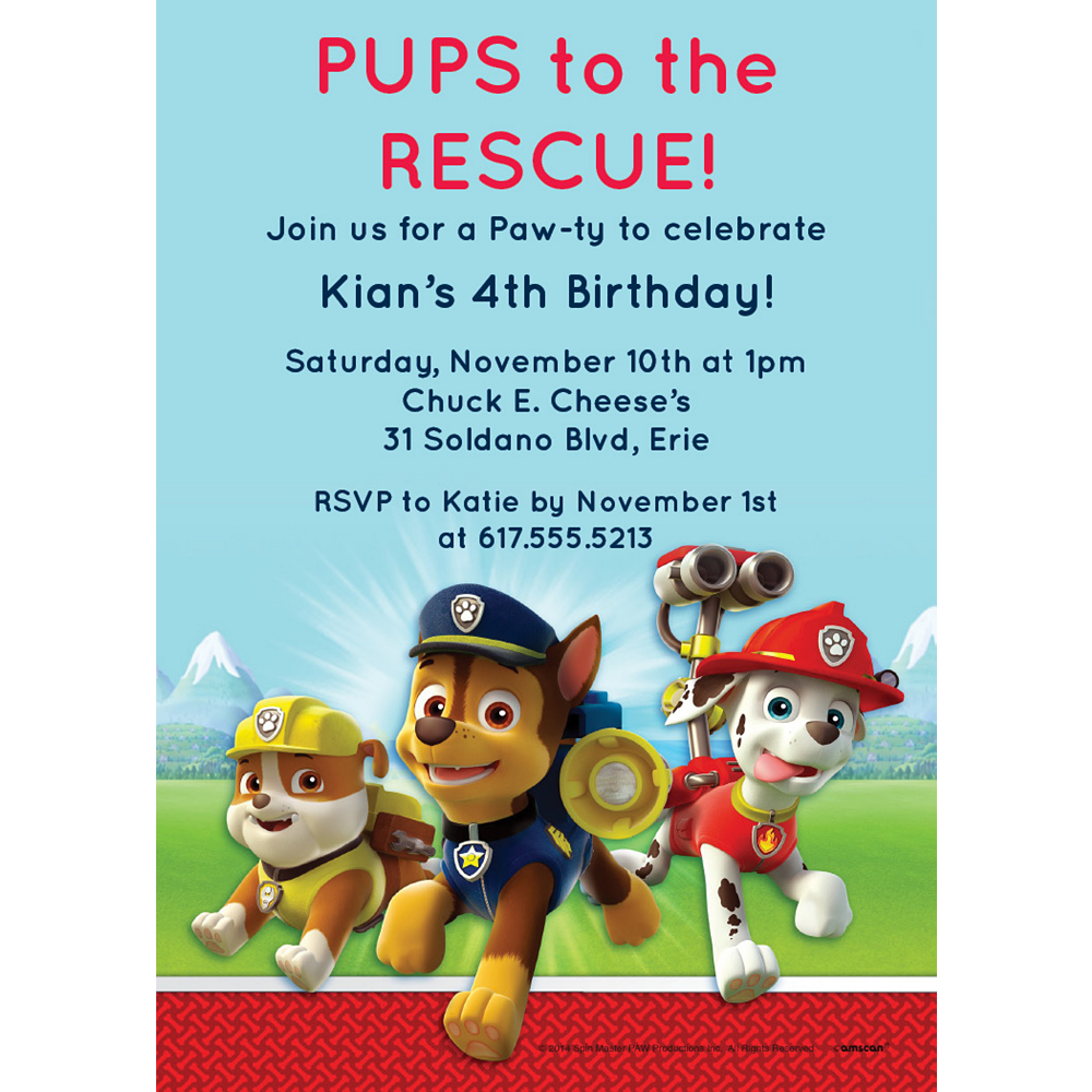 Custom PAW Patrol Invitations Image #1