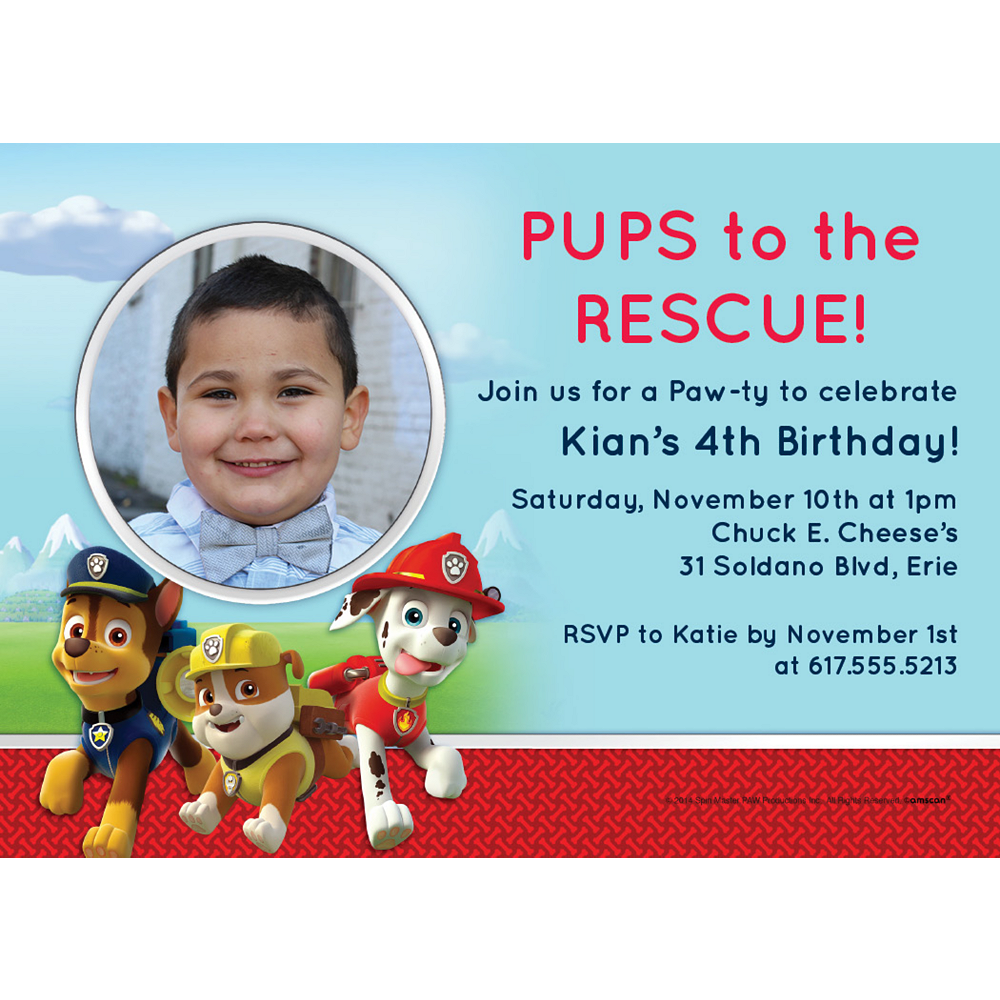 Nav Item for Custom PAW Patrol Photo Invitations Image #1