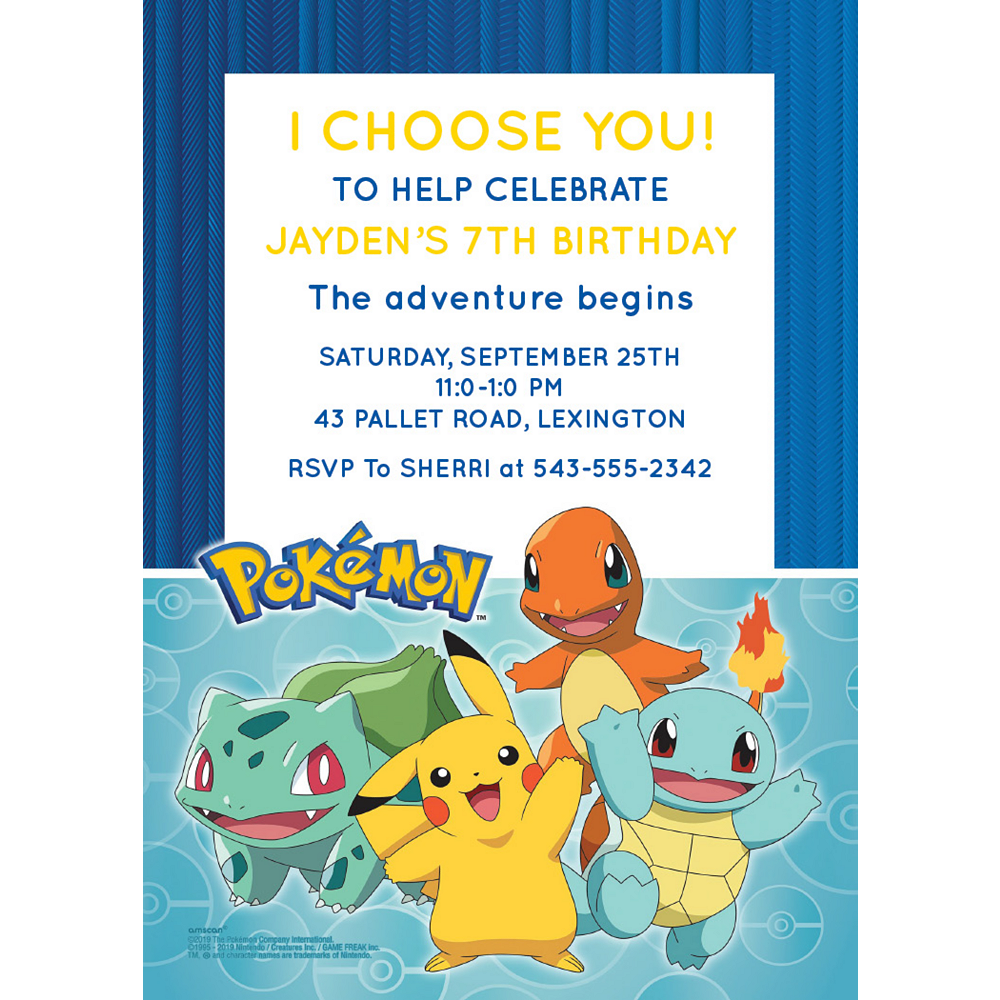 Custom Pokémon Classic Invitations Image #1
