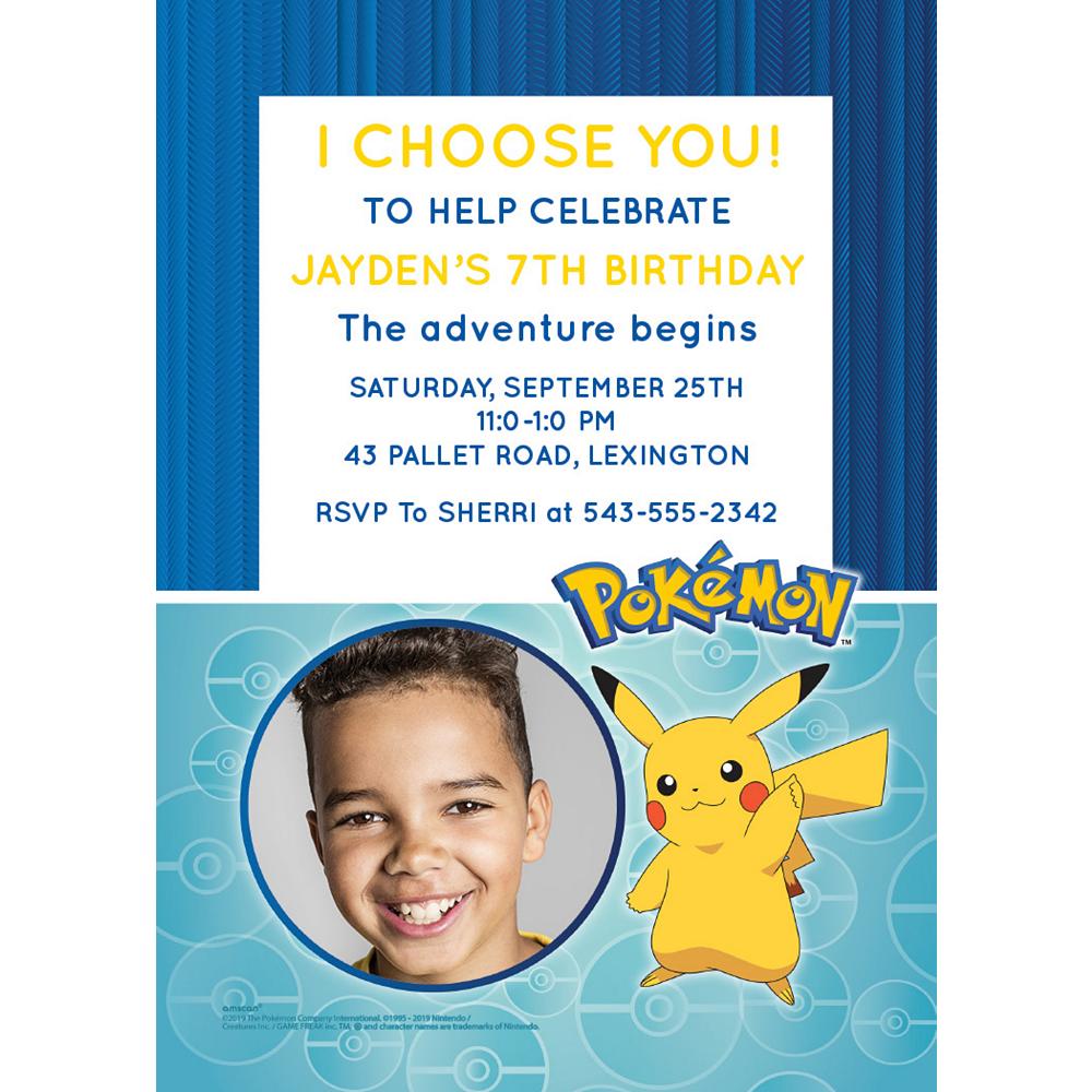 Custom Pokémon Classic Photo Invitations Image #1