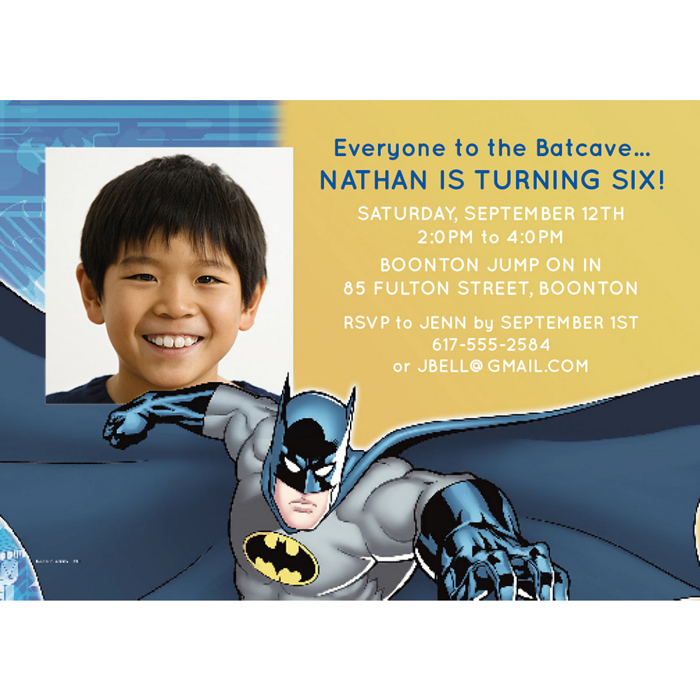 Custom Batman Photo Invitations Image #1