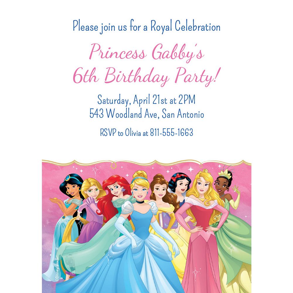 Custom Once Upon a Time Disney Princess Invitations Image #1