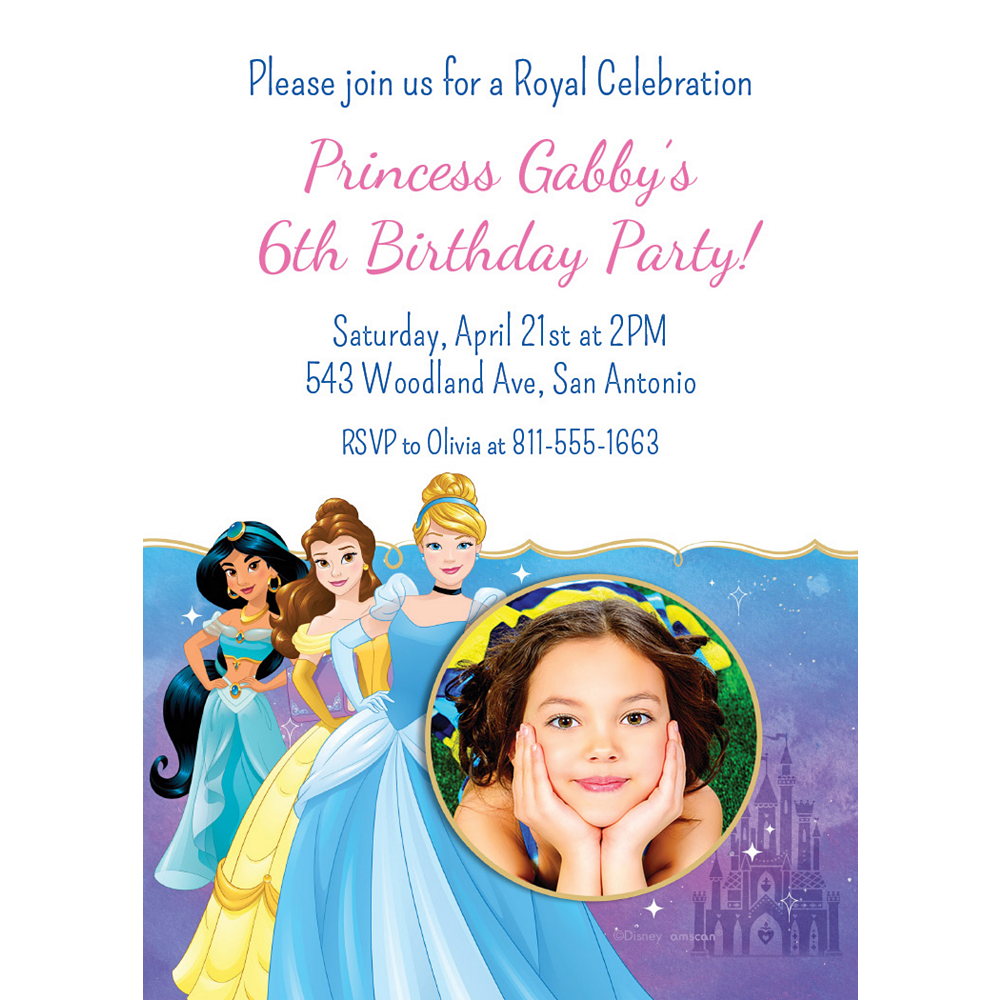 Custom Once Upon a Time Disney Princess Photo Invitations Image #1