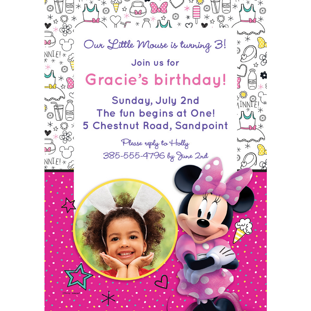 Custom Minnie's Happy Helpers Photo Invitations Image #1