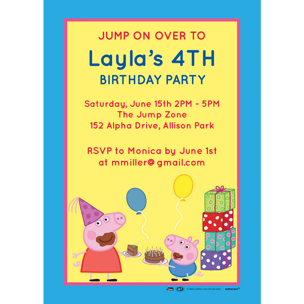 Nav Item for Custom Peppa Pig Invitations Image #1