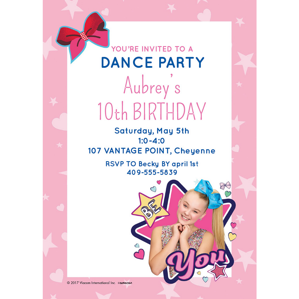 Custom JoJo Siwa Invitations Image #1