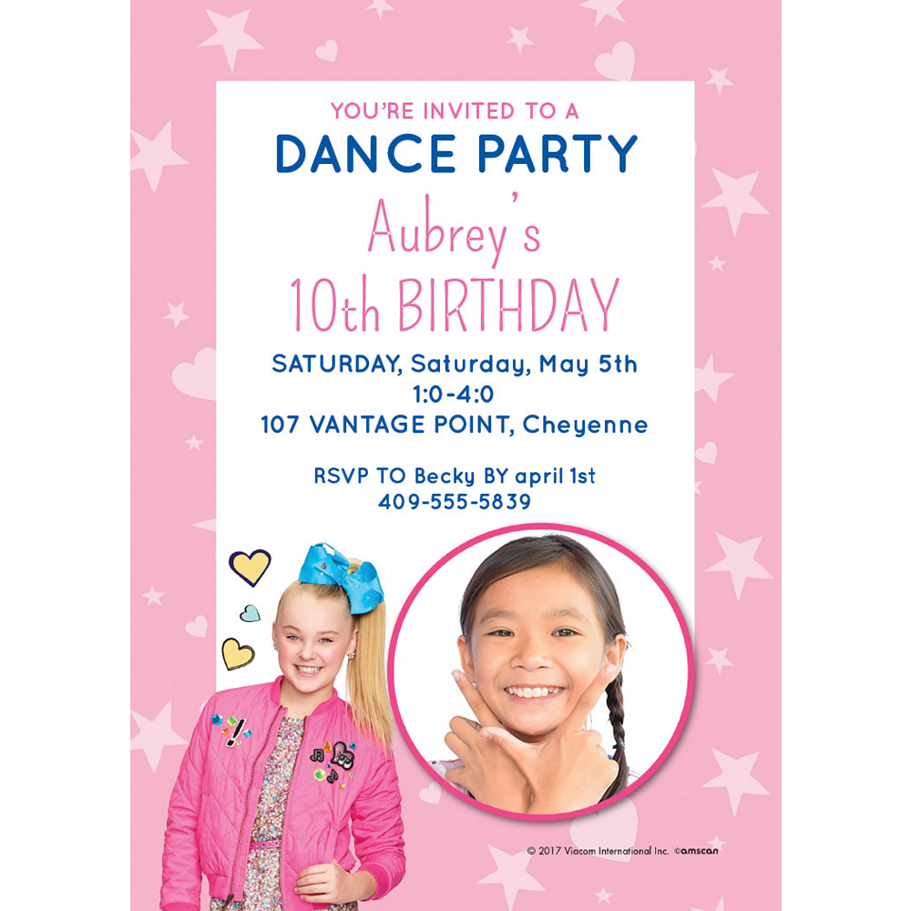 Custom JoJo Siwa Photo Invitations Image #1