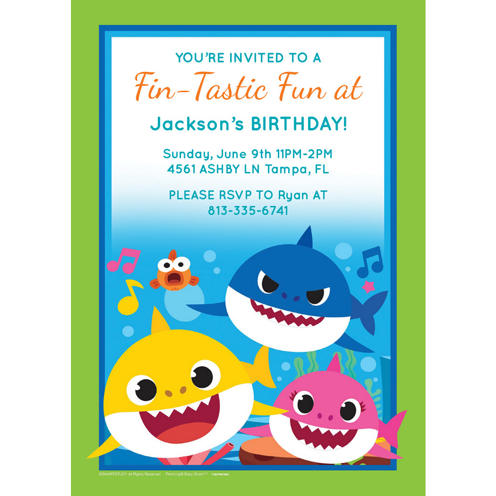 Custom Baby Shark Invitations Image #1