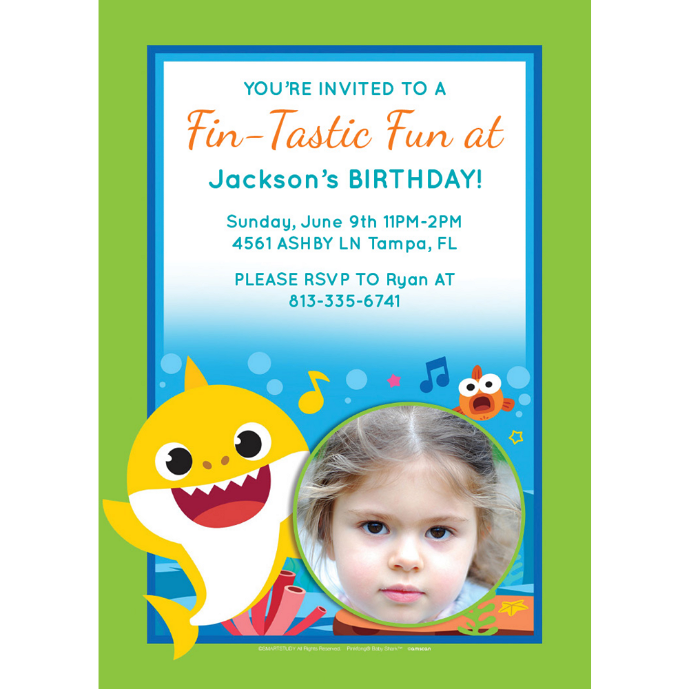 Custom Baby Shark Photo Invitations Image #1