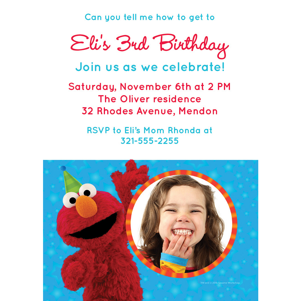 Custom Sesame Street Photo Invitations Image #1