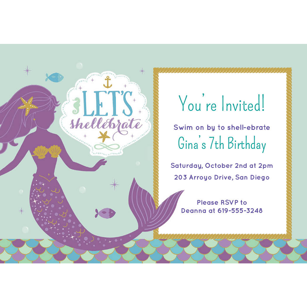 Custom Mermaid Wishes Invitations Image #1