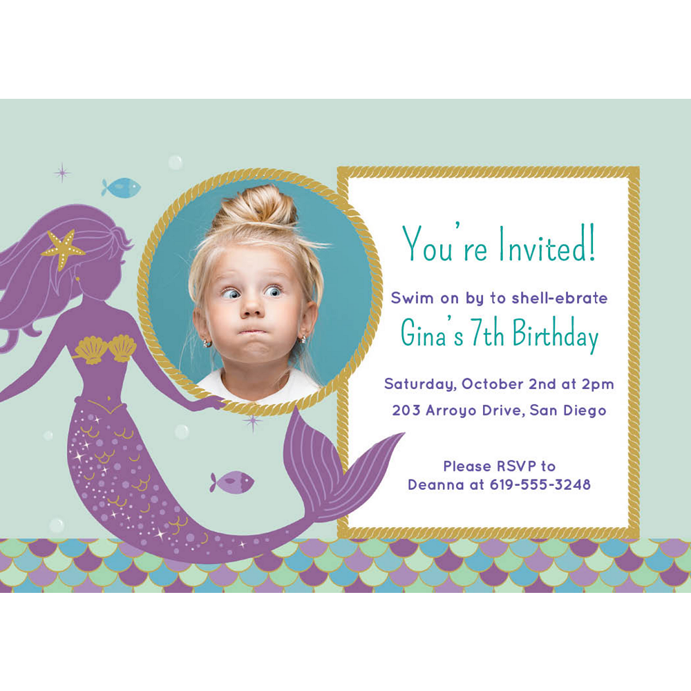 Custom Mermaid Wishes Photo Invitations Image #1