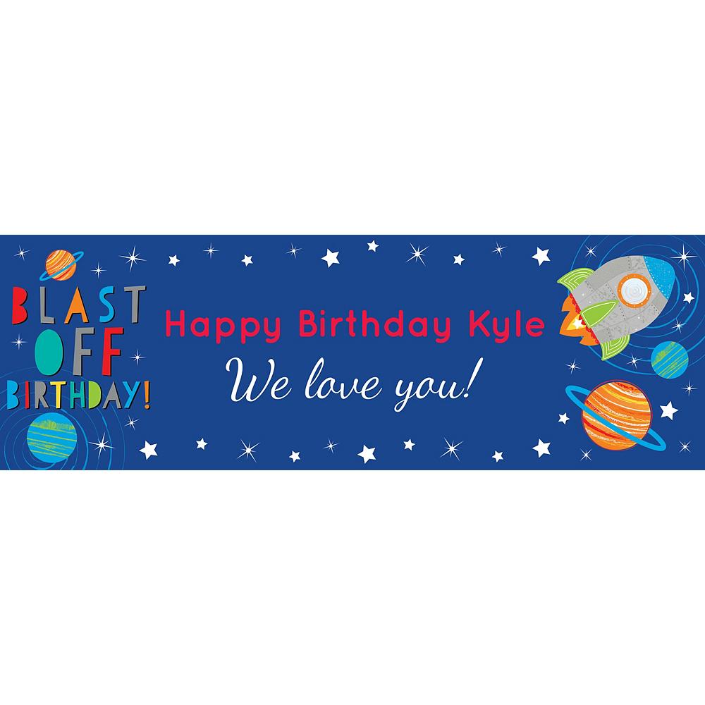 Custom Blast Off Birthday Horizontal Banner Image #1