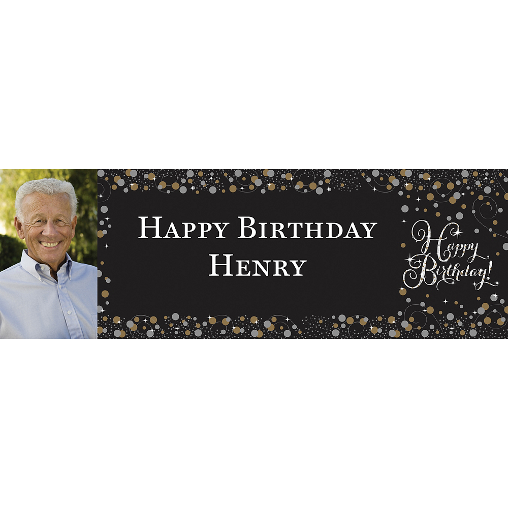 Custom Sparkling Celebration Photo Horizontal Banner Image #1