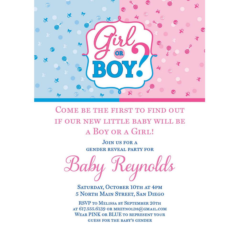 Custom Girl or Boy Gender Reveal Invitations Image #1