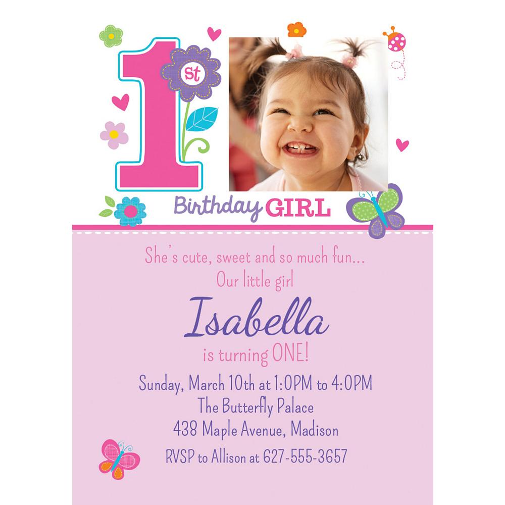 Custom Sweet Birthday Girl Photo Invitations Image #1