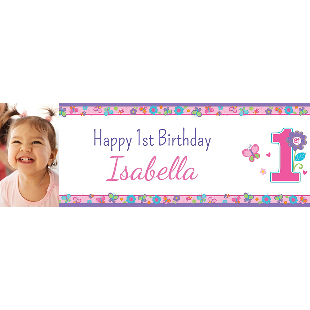 Custom Sweet Birthday Girl Photo Horizontal Banner Image #1