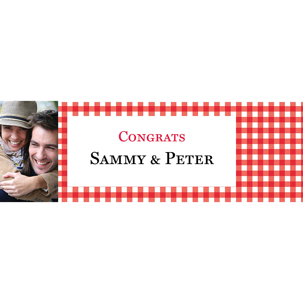 Custom American Summer Red Gingham Photo Horizontal Banner Image #1