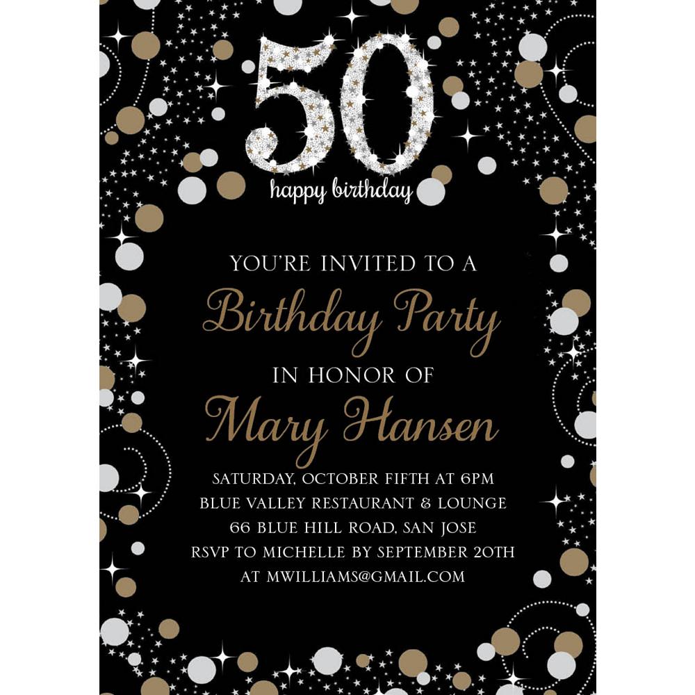 Custom Sparkling Celebration 50 Invitations Image #1