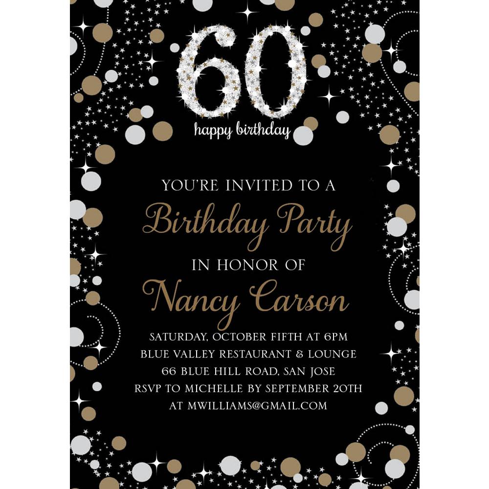 Custom Sparkling Celebration 60 Invitations Image #1