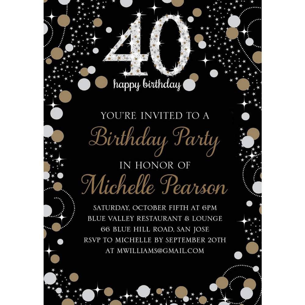 Custom Sparkling Celebration 40 Invitations Image #1