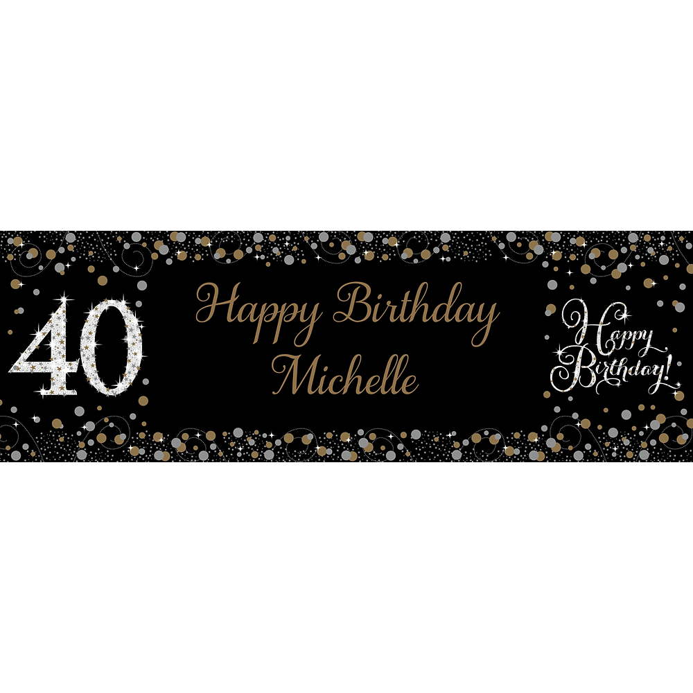 Custom Sparkling Celebration 40 Horizontal Banner Image #1